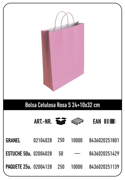 Bolsa celulosa s 24+10x32 rosa