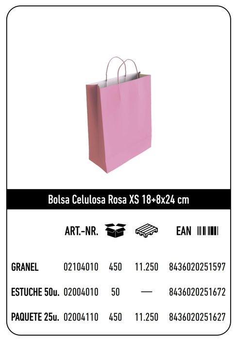 Bolsa celulosa xs 18+8x24 rosa