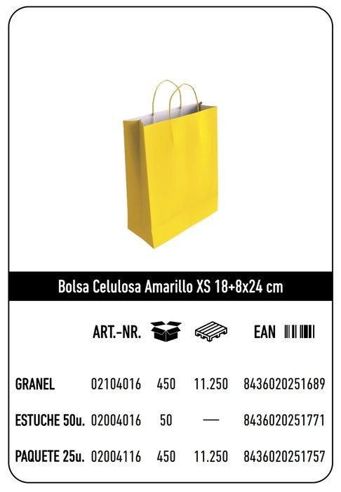 Bolsa celulosa xs 18+8x24 amarillo