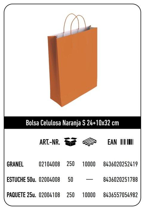 Bolsa celulosa s 24+10x32 naranja