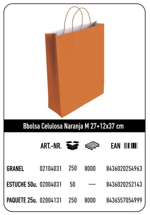 Bolsa celulosa m 27+12x37 naranja