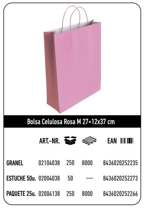 Bolsa celulosa m 27+12x37 rosa