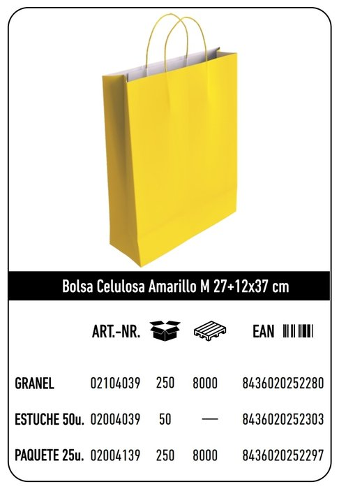Bolsa celulosa m 27+12x37 amarillo