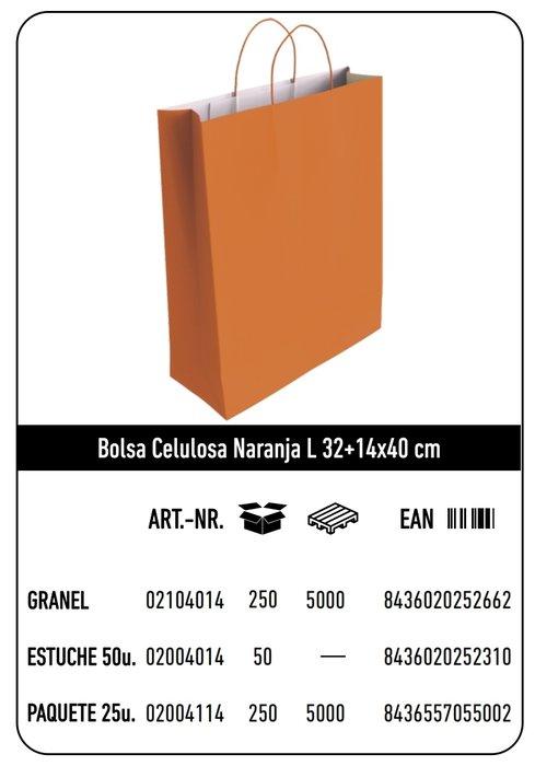 Bolsa celulosa l 32+14x40 naranja