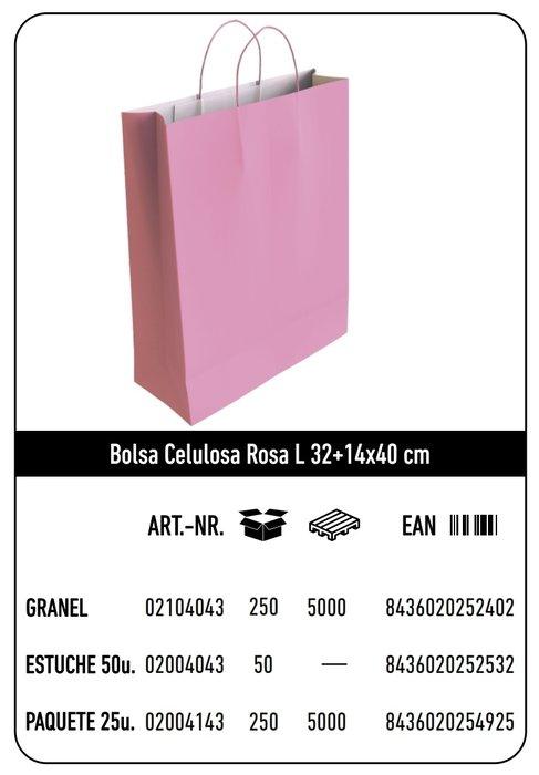 Bolsa celulosa l 32+14x40 rosa
