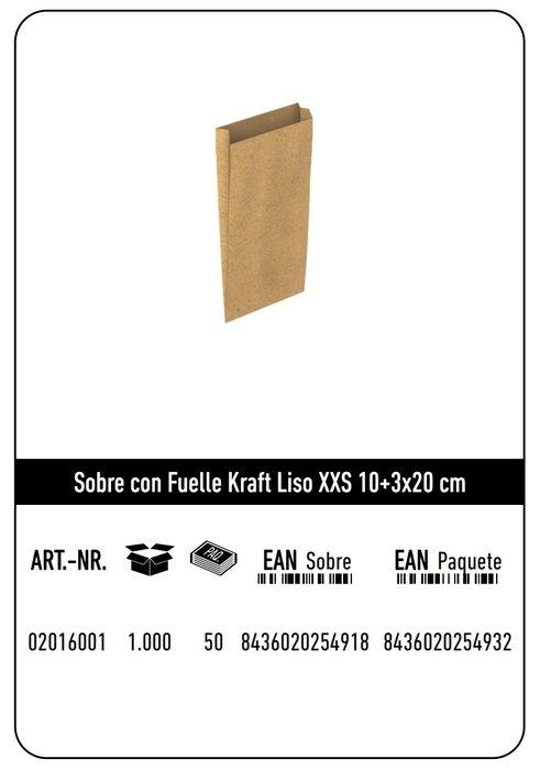 Sobre kraft xxs 10+3x20  natural liso paquete 25 uds