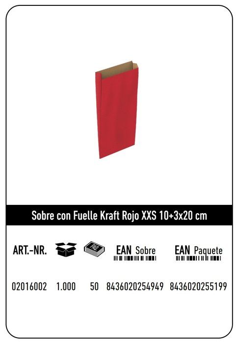 Sobre kraft xxs 10+3x20  rojo paquete 25 uds