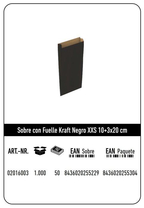 Sobre kraft xxs 10+3x20  negro paquete 25 uds