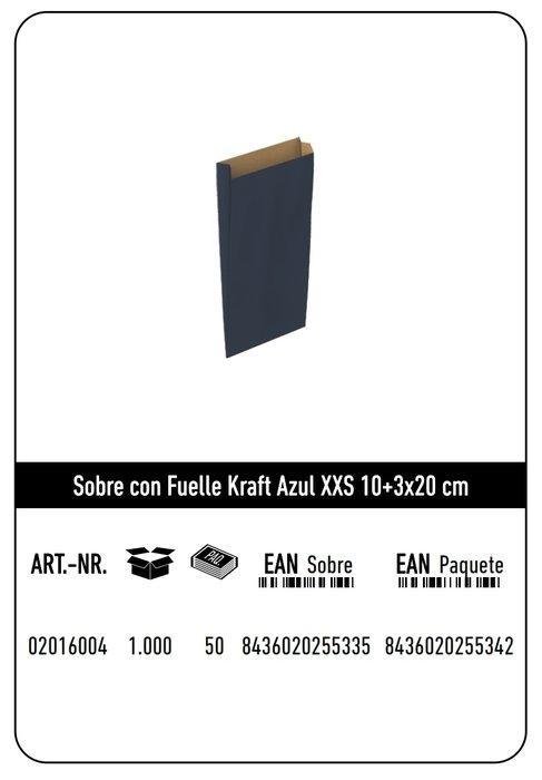 Sobre kraft xxs 10+3x20  azul paquete 25 uds