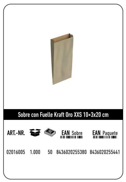 Sobre kraft xxs 10+3x20  oro paquete 25 uds