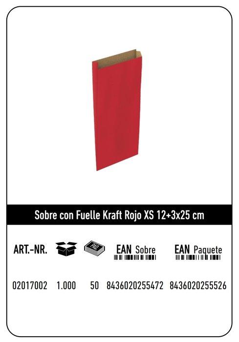 Sobre kraft  xs 12+3x25  rojo paquete 25 uds