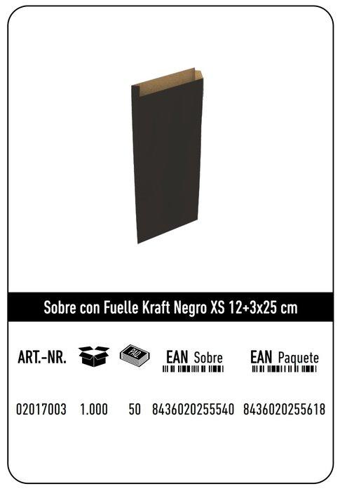 Sobre kraft  xs 12+3x25  negro paquete 25 uds