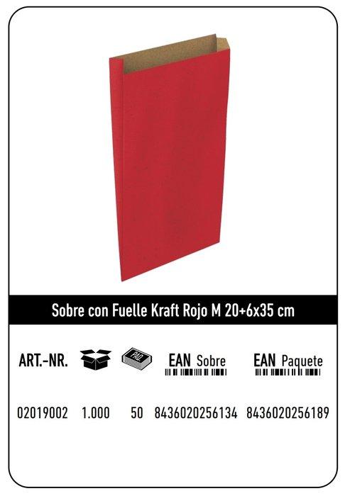 Sobre kraft  m 20+6x35  rojo paquete 25 uds