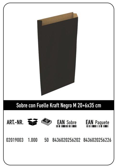 Sobre kraft  m 20+6x35  negro paquete 25 uds