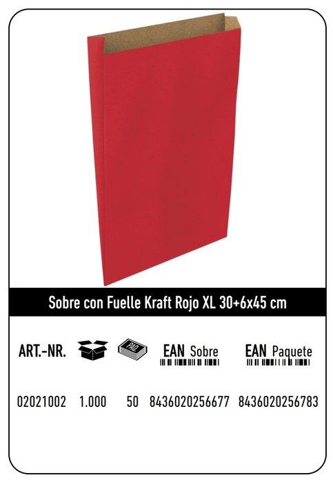 Sobre kraft  xl 30+6x45 rojo paquete 25 uds
