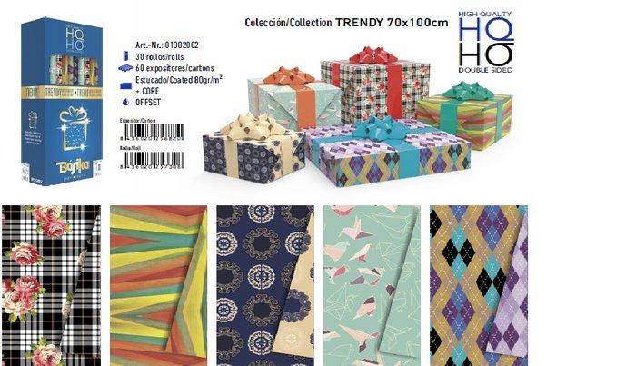 Rollo papel regalo trendy 70x100cm doble cara