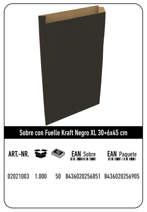 Sobre kraft  xl 30+6x45 negro paquete 25 uds