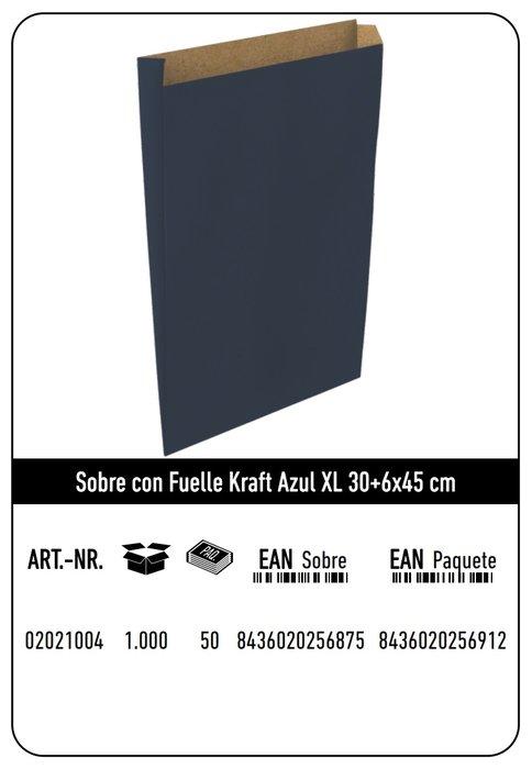 Sobre kraft  xl 30+6x45 azul paquete 25 uds