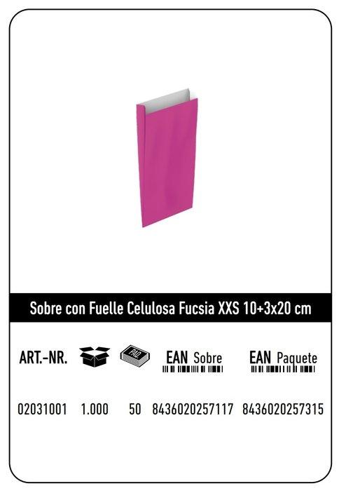 Sobre celulosa xxs10+3x20 fucsia paquete 25 uds