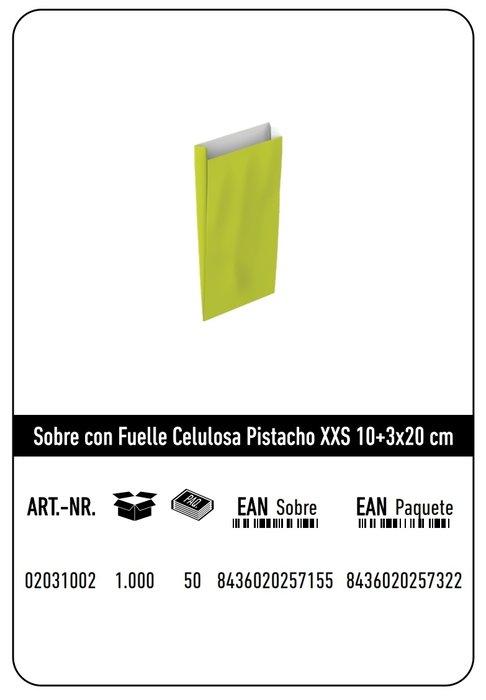 Sobre celulosa xxs10+3x20 pistacho paquete 25 uds