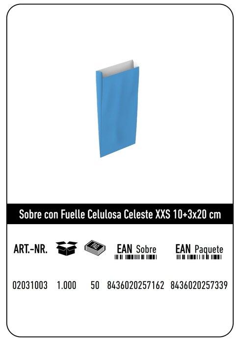 Sobre celulosa xxs10+3x20 celeste paquete 25 uds