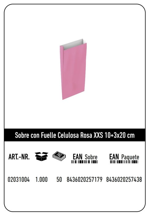 Sobre celulosa xxs10+3x20 rosa paquete 25 uds