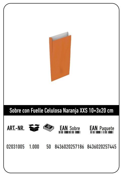 Sobre celulosa xxs10+3x20 naranja paquete 25 uds
