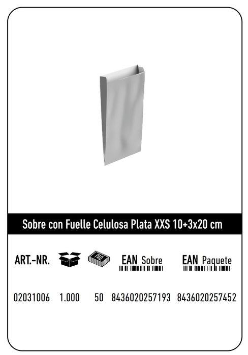 Sobre celulosa xxs10+3x20 plata paquete 25 uds