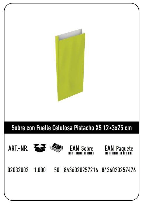 Sobre celulosa xs 12+3x25 pistacho paquete 25 uds