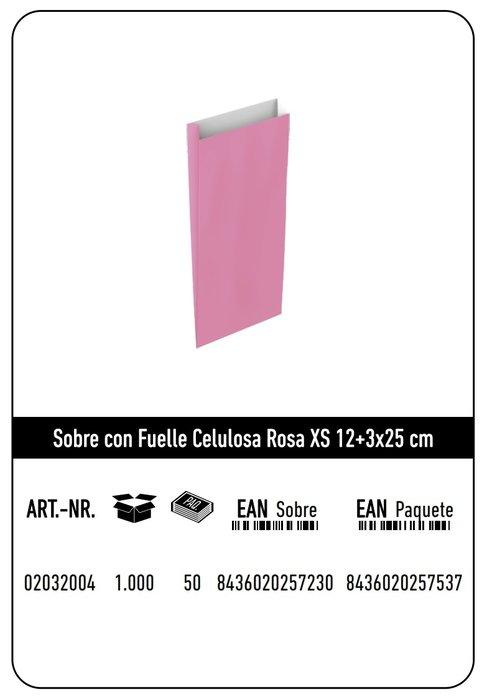 Sobre celulosa xs 12+3x25 rosa paquete 25 uds
