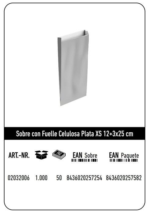 Sobre celulosa xs 12+3x25 plata paquete 25 uds