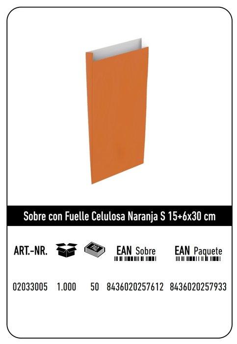 Sobre celulosa s 15+6x30 naranja paquete 25 uds