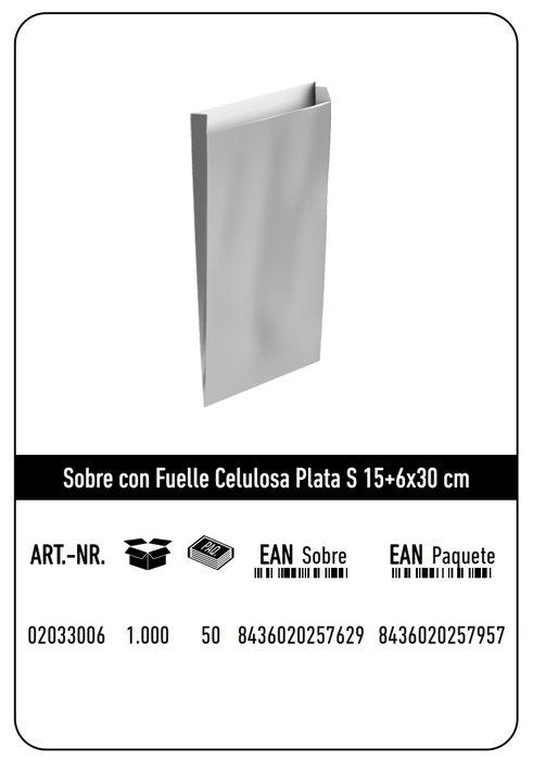 Sobre celulosa s 15+6x30 plata paquete 25 uds