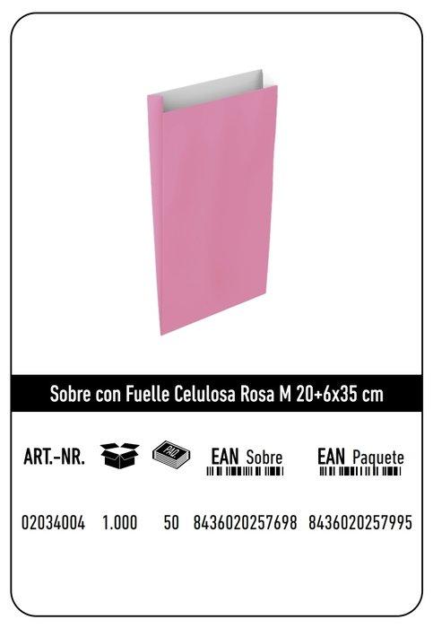 Sobre celulosa m 20+6x35 rosa paquete 25 uds