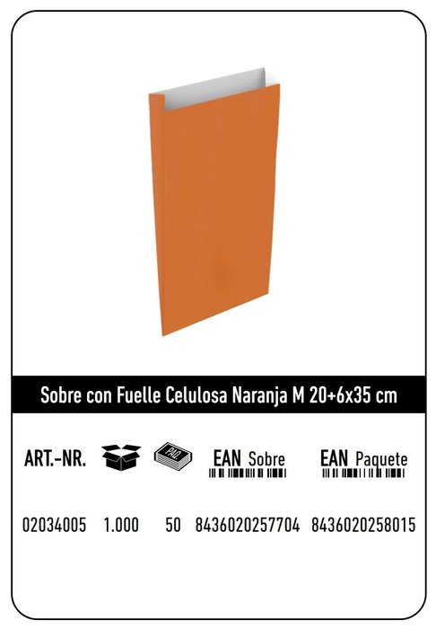 Sobre celulosa m 20+6x35 naranja paquete 25 uds