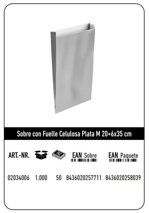 Sobre celulosa m 20+6x35 plata paquete 25 uds