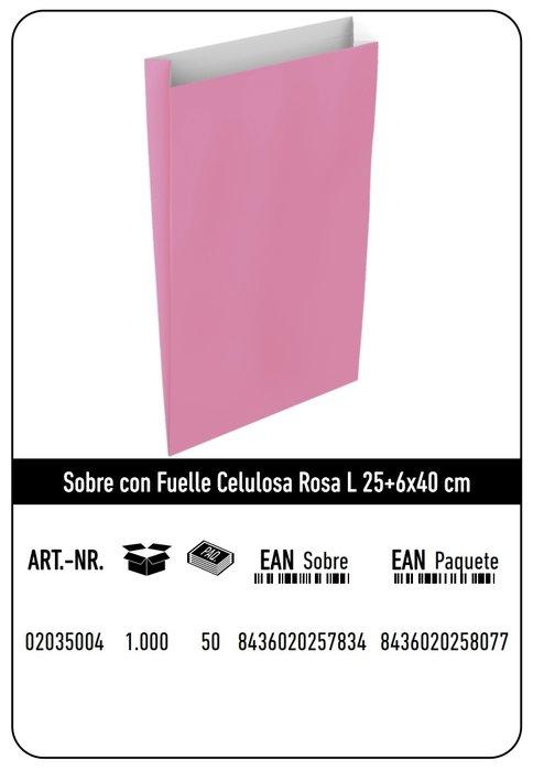 Sobre celulosa l 25+6x40 rosa paquete 25 uds
