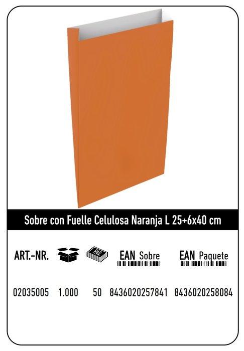 Sobre celulosa l 25+6x40 naranja paquete 25 uds