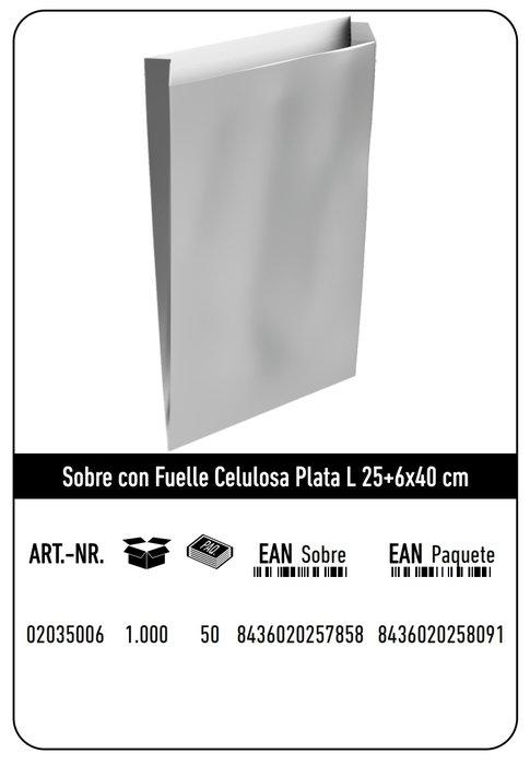 Sobre celulosa l 25+6x40 plata paquete 25 uds