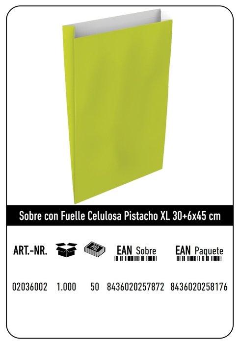 Sobre celulosa xl 30+6x45 pistacho paquete 25 uds