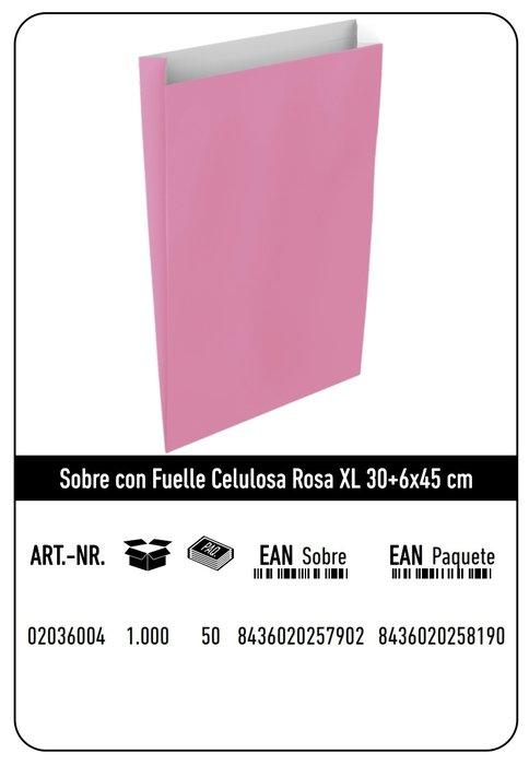 Sobre celulosa xl 30+6x45 rosa paquete 25 uds