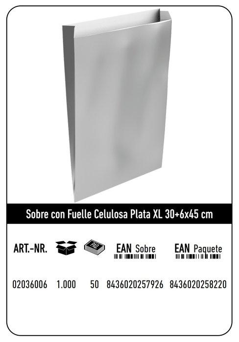 Sobre celulosa xl 30+6x45 plata paquete 25 uds