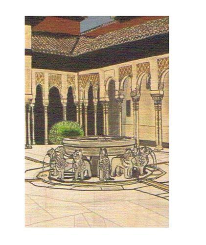 Tarjeta postal alhambra patio de los leones