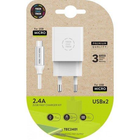 Cargador doble blanco +  cable braided  nylon micro usb alto