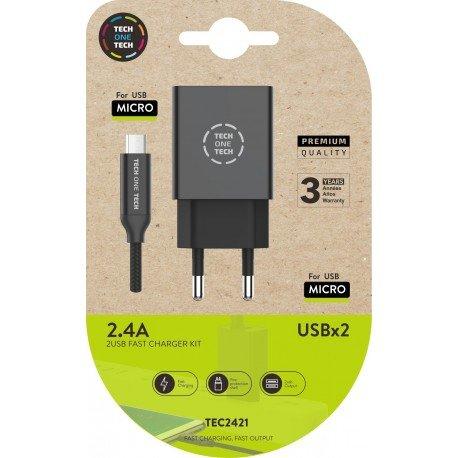Cargador doble negro +  cable braided  nylon micro usb alto