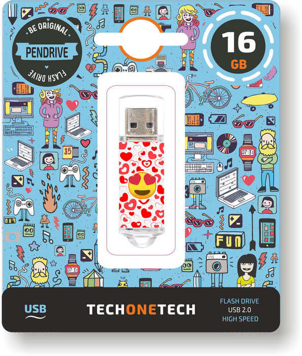 Pendrive usb 16 gb emojitech heart-eyes