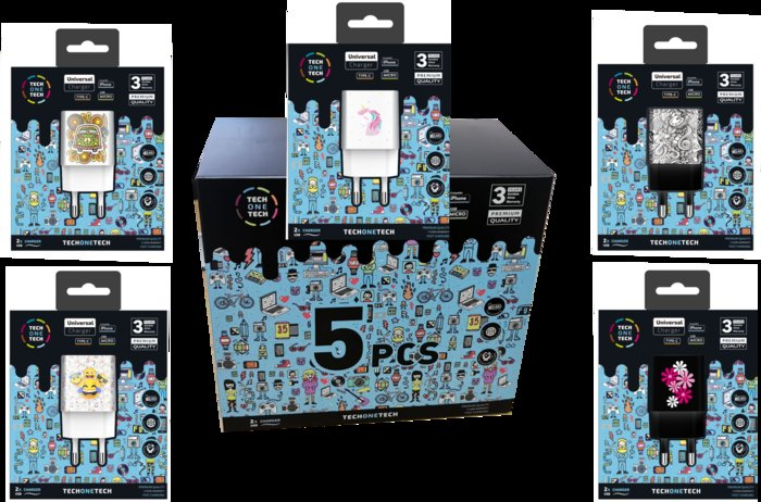 Pack con 5 cargadores be original 2,4a - 2 puertos usb