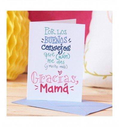 Tarjeta felicitacion a6 c/sobre consejos mama