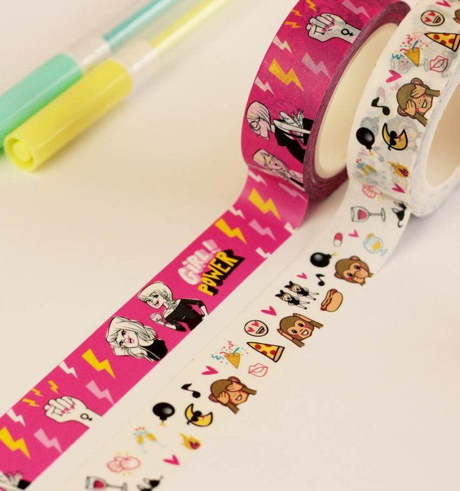 Cinta washi tape girl power y party hard pack 2 unidades