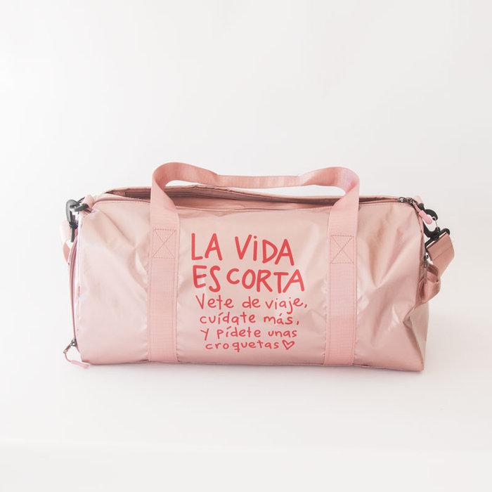 Bolsa de viaje rosa la vida es corta